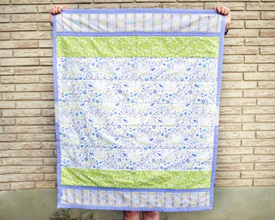 Handmade bluebirds quilt