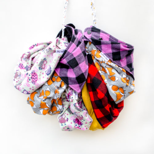 Fall style flannel scarves for babies and toddlers