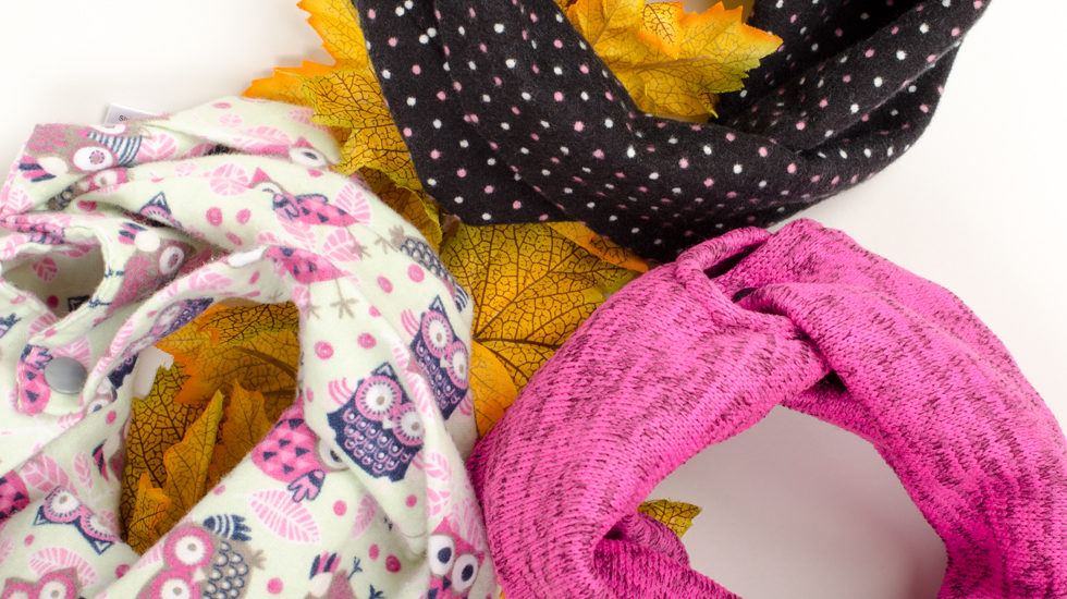 Pink baby infinity scarves