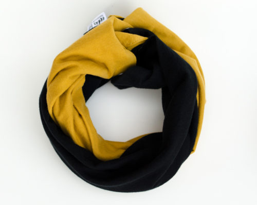Mustard and black jersey infinity scarf for baby or toddler