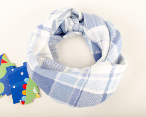 Blue and white toddler cowl