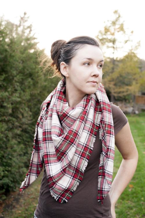 red plaid blanket scarf