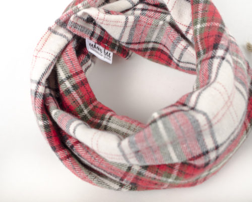 baby infinity scarf in red and green