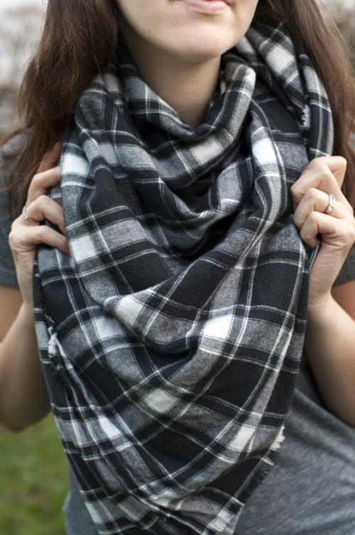 flannel plaid blanket scarf