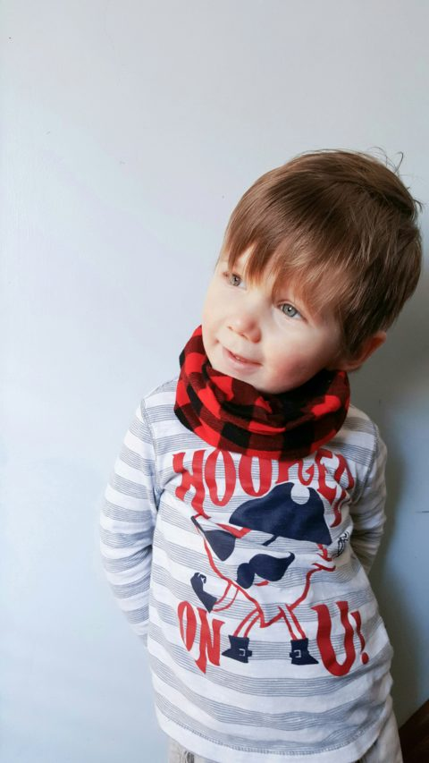 Red buffalo plaid toddler scarf for little teethers