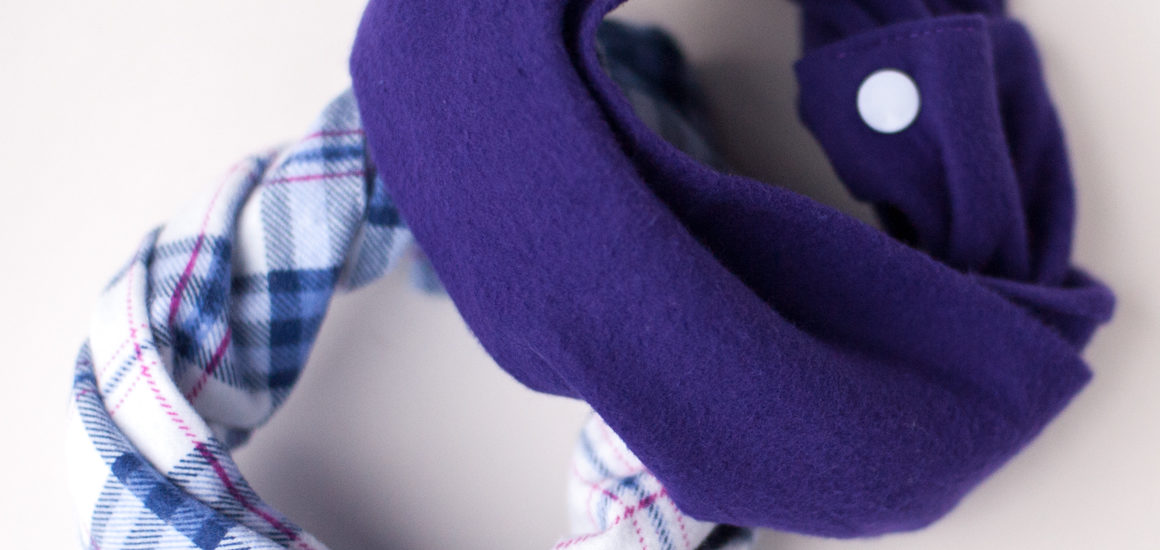 Purple flannel baby scarf
