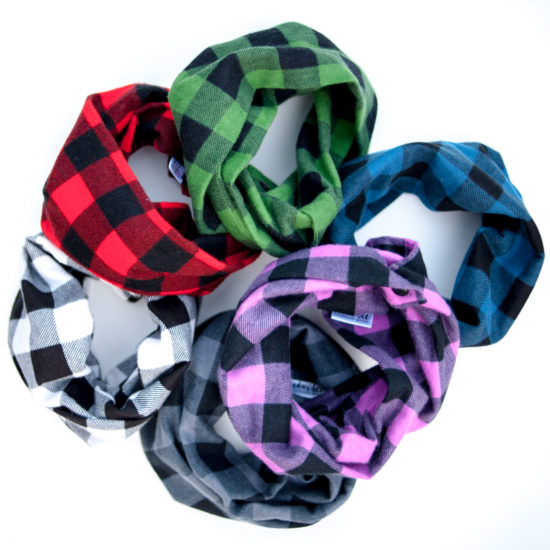 Buffalo check scarves for kids