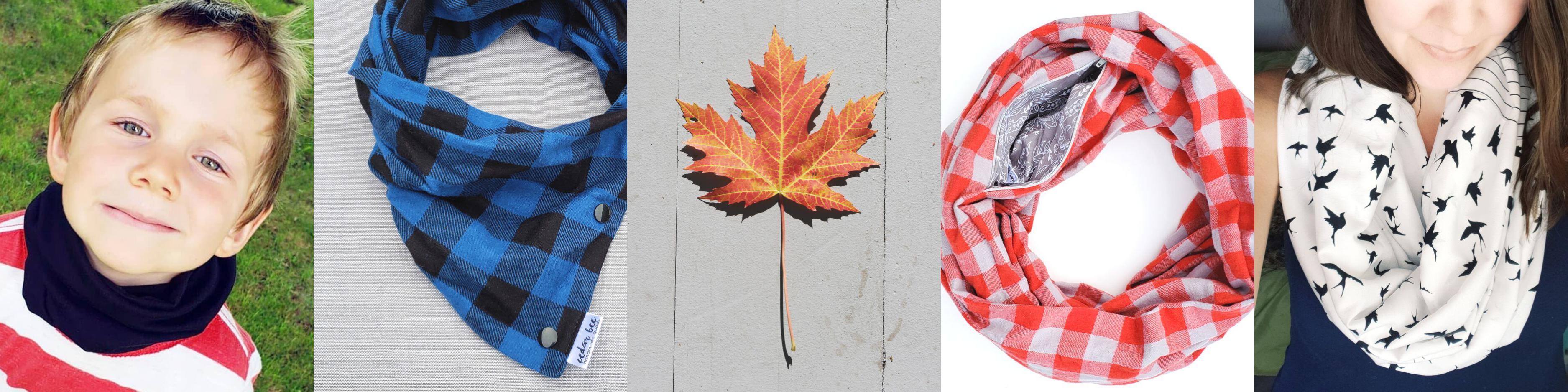 Snap scarves for kids and pocket scarves for you