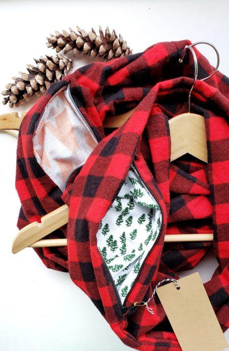 plaid flannel hidden pocket infinity scarves