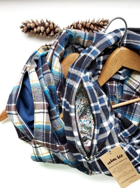 flannel infinity scarves with zipper pockets